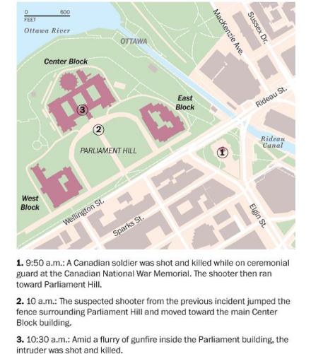 Ottawa Attack Map and Timeline, courtesy of WaPo