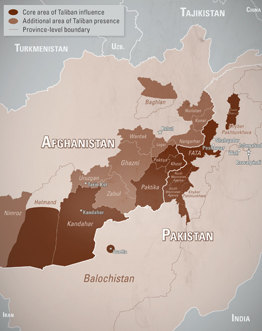 Afghan Taliban's AO, courtesy of the NCTC