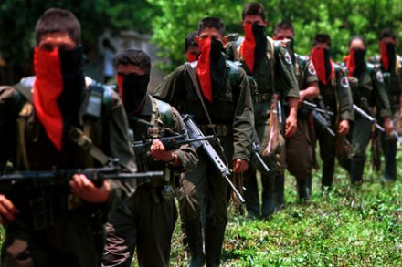 ELN rebels on patrol, courtesy of Colombia Politics